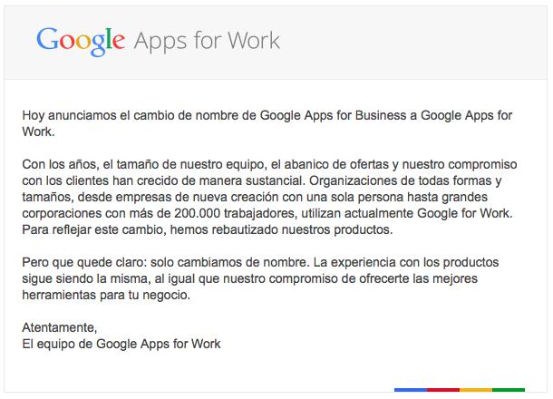 Ahora Google 4 Busines es Google 4 Work