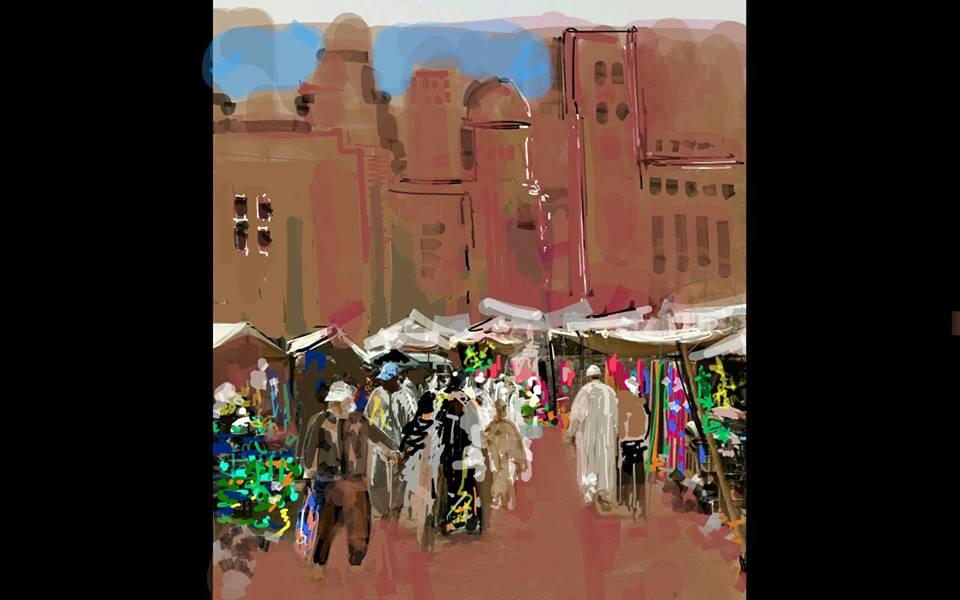 Un garabato digital de Colin Bertholet, para su colección sobre Marruecos
