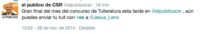 Tuiteratura en El Público CSR con Jesús Vigorra
