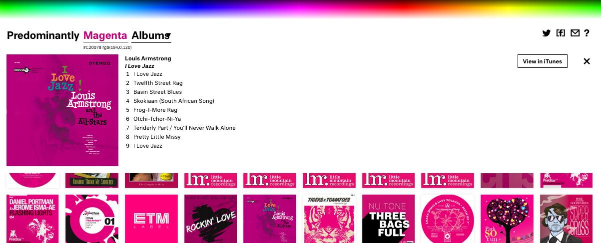 Música por colores comunicaomuere.com predominant.ly magenta rosa dominique b