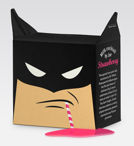 packaging creativos batidos leche batman