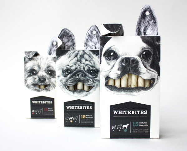 packaging creativos dientes blancos mascotas
